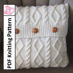 knit pattern pdf, Cable knit pillow cover pattern, Diamonds and Cable 16 pillow cover – PDF KNITTING PATTERN - Knitting and Crochet Knitted Cushion Covers, Knitted Cushions, Knitting Projects, Crochet Projects, Knitting Patterns, Crochet Patterns, Pillow Patterns, Knit Pillow, Owl Pillow