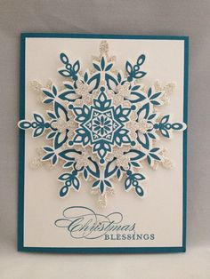 Stampin Up Festive Flurry, Greetings of the Season, Christmas, Silver and Blue, could use for non-religious