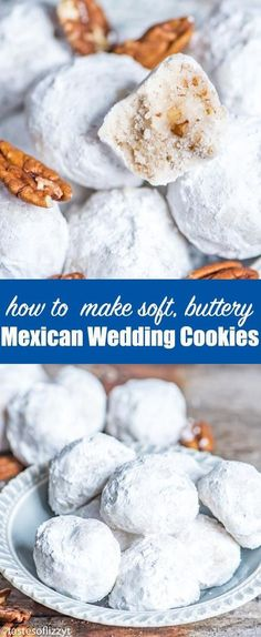 Soft, buttery pecan Mexican Wedding Cookies are a traditional cookie recipe idea for the holidays or for special occasions. The powdered sugar coating makes them look like snowballs! #snowballs #mexicanweddingcookies #cookies #pecan via @tastesoflizzyt