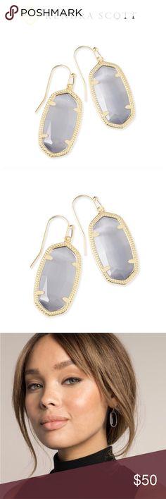Kendra Scott Dani Drop Earrings NWT. Slate cats eye with gold. Kendra Scott Jewelry Earrings