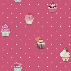 Cupcake Deep Pink by Galerie : Wallpaper Direct Galerie Wallpaper, Cupcakes Wallpaper, Wall Jack, Pink Lila, Kids Wallpaper, Designer Wallpaper, True Colors, Raspberry, Kids Room