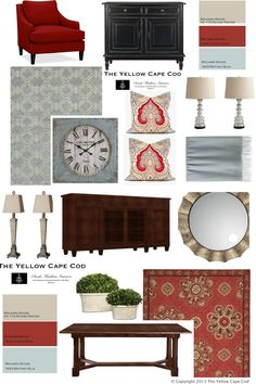 Today's featured design boards are from a recent Two Room Online Design Plan for Erika's living room and dining room. The custom palette w...
