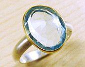 Rose cut Swiss Blue Topaz Ring. $218.00, via Etsy.