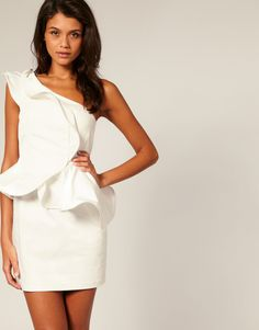 Forever Unique Structured Frill One-shoulder dress
