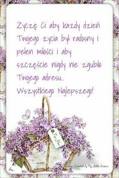 In day - Życzenie - Happy Birthday Flower, Happy Birthday Pictures, Birthday Quotes, Birthday Wishes, Birthday Cards, Happy Birthday Illustration, Spiritual Thoughts, Happy B Day, Motto