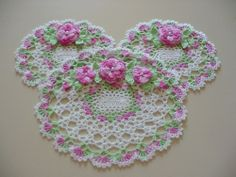 PHOTO ONLY ~ New Hand Crocheted Pink Rose Doily Set