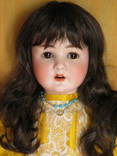 perruque poupée ancienne/poupées anciennes-tour de tête 39-41cm brune-doll wig