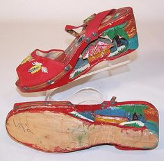 1940s Wooden Shoes Hand Carved 1940s WWII Philippines Tourist Souvenir Wooden WWII Hand Carved Wooden Tiki Shoes Beaded Velvet Mules