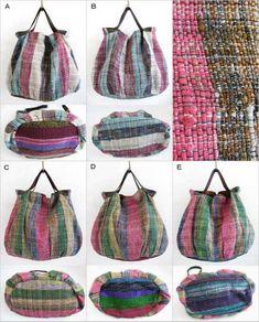 various shopのインド裂き織りシルクのバッグ。取り外し可能な本革ショルダーで、トートバッグにも斜め掛けショルダーにもなる2WAYバッグ。