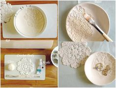 DIY Lace Bowl This is very pretty, isn't it? If you like clay crafts and you have a bit of doily or lace lying around, we suggest that you give this tutorial a go. How about making a batch in different colors? They'd be great housewarming gifts!