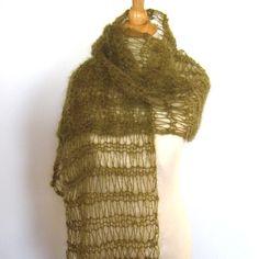 Olive Green Mohair Knit Shawl Wrap Stole by KnittingGuru is featured in Etsy Treasury - Fall Pantone Colors: http://www.etsy.com/treasury/NzE1NTg3NnwyNzI1MDE3MjM0/fall-pantone-colors