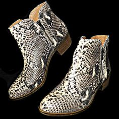 8af812acea2e Lucky Brand Breah Avorlo Python Snakeskin Print Zipper Ankle Boots EUR 41  US 11  LuckyBrand  AnkleBoots  Any