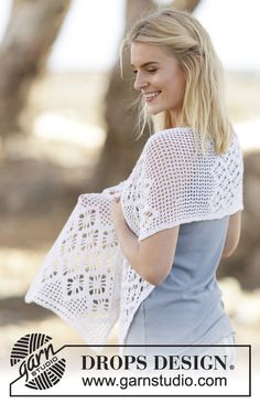 "Crochet DROPS stole with double crochet and lace pattern in ""BabyAlpaca Silk"". ~ DROPS Design"