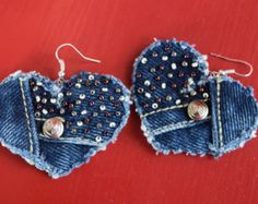 Earring - Heart-Shaped, Recycled, Vintage Sasson Denim - Hand-Beaded - Upcycled