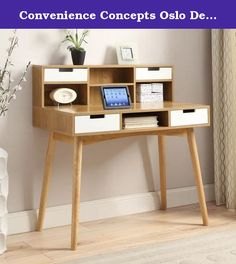Convenience Concepts Oslo Deluxe Desk with Hutch. Enjoy storage and workspace in one easy piece with the Convenience Concepts Oslo Deluxe Desk with Hutch. This desk provides four drawers for storage as well as five open pigeonholes for items that you use frequently or want to keep within view. Mid-century and Scandinavian style influences are clearly seen in the rounded, angled legs and boxy desk and hutch. You'll find it convenient and comfortable to write, compute, and organize your…