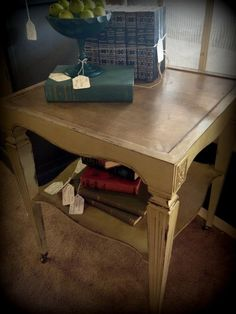 End table painted in Old Ochre with dark wax. Annie Sloan chalk paint.....love this table!!!!