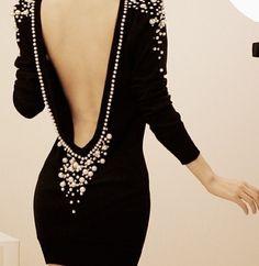 Low back & studded little black dress
