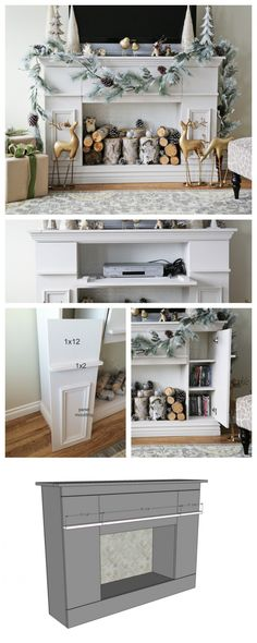 Ana White Build a Faux Fireplace Mantle with Hidden Storage Cabinets Free and Easy DIY Project and Furniture Plans Diy Fireplace, Furniture, Storage Cabinets, Faux Fireplace Diy, Home, Home Diy, Furniture Plans, Furniture Projects, Home Decor