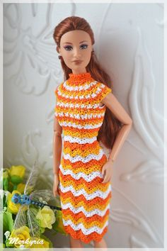 View album on Yandex. Crochet Barbie Clothes, Crochet Dolls, Crochet Baby, Knit Crochet, Fashion Dolls, Fashion Outfits, Barbie Dress, Barbie Doll, Barbie Patterns