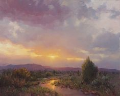 Becky Joy, Sunlight Reflection, oil, 24 x - Southwest Art Magazine Abstract Landscape, Landscape Paintings, Impressionist Landscape, Summer Landscape, Watercolor Sky, Cloud Art, Seascape Art, Paintings I Love, Sunset Paintings