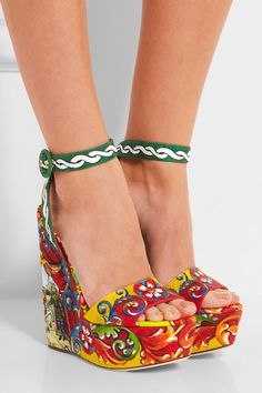 Wedge heel measures approximately 140mm/ 5.5 inches with a 35mm/ 1.5 inches platform Multicolored brocade Buckle-fastening ankle strap Made in Italy