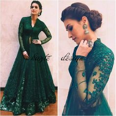 Hunter Green Beaded Two Pieces Formal Dresses Evening Wear With Long Sleeves Beaded Lace Evening Gowns Floor Length V Neck A-Line Prom Dress Indian Gowns Dresses, Pakistani Dresses, Evening Dresses, Bride Dresses, Dresses Uk, Indian Evening Gown, Indian Wedding Gowns, Gown Wedding, Wedding Dresses