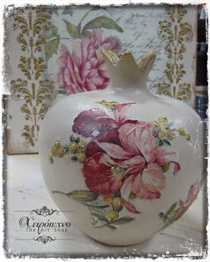 Ροδια Bottle Art, Decoupage, Diy And Crafts, My Arts, Pottery, Pomegranates, Christmas, Vases, Image