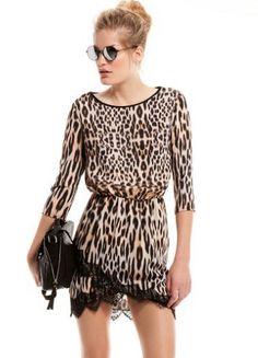 Brown Half Sleeve Leopard Print Contrast Lace Hem Dress US$26.67