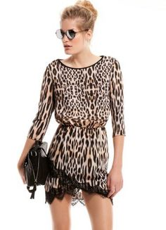 Brown Half Sleeve Leopard Print Contrast Lace Hem Dress US$26.67