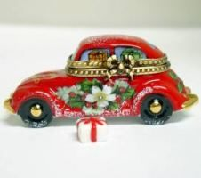 LIMOGES BOXES Direct from Limoges France with FREE SHIPPING ! #1 Limoges Boxes collectors website - Santa Claus Car Limoges Trinket Box