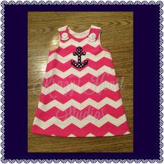 Pink/Navy ALine Dress by KrazyHeartStudios on Etsy, $35.00
