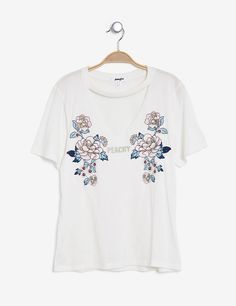 Cream printed T-shirt - http://www.jennyfer.com/en-gb/clothes/tops-and-tee-shirts/cream-printed-t-shirt-10014344001.html