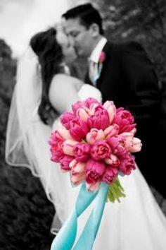 buquê rosa e azul =D