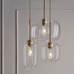 Shop Sculptural glass chandelier from west elm. Find a wide selection of furniture and decor options that will suit your tastes, including a variety of Sculptural glass chandelier. Kitchen Lighting Fixtures, Kitchen Pendant Lighting, Kitchen Pendants, Bar Lighting, Home Lighting, Modern Lighting, Lighting Ideas, Glass Light Fixtures, Entryway Lighting