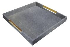 18 Inch Faux Gray Shagreen Stingray Tray with Brass Handles -- Covered in textural faux shagreen with contrasting golden steel handles, this decorative tray makes a chic addition to any space. Decorative Items, Decorative Pillows, Ottoman Tray, Coffee Table Tray, Square Tray, Wall Organization, Brass Handles, Tray Decor, Home Accessories
