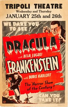 Dracula / Frankenstein reissue double feature, 1938