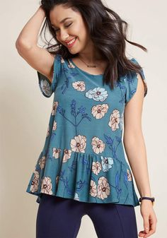 Cute! #affiliatelink ModCloth Tea House Outing Peplum Top #fashion #shirt #top #peplum #modcloth #style