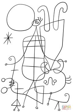 Figures and Dog in Front of the Sun by Joan Miro coloring page from Joan Miró category. Select from 27007 printable crafts of cartoons, nature, animals, Bible and many more.