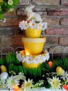 Cute EaSTeR TieReD DiSPLaY with Terra Cotta Pots (could paint any pastel color)