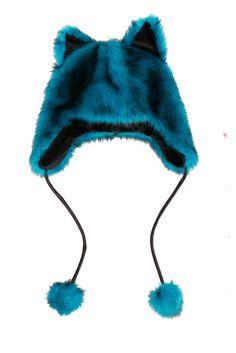 $24.50  Teal Fur Peruvian Beanie  Hats | Accessories <3333