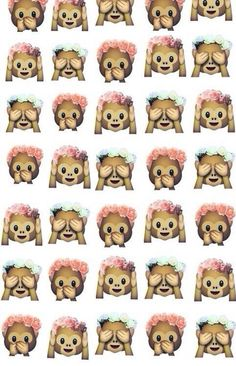 Imagen vía We Heart It https://weheartit.com/entry/159825420 #background #flowers #monkey #summer #wallpaper #emoji #monkeyemoji #emojiwallpaper #emojibackground