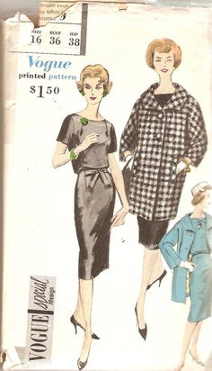 1950s One Piece Dress Pattern Coat Pattern Bust 36 Size 16 Vogue 4966 Vintage…