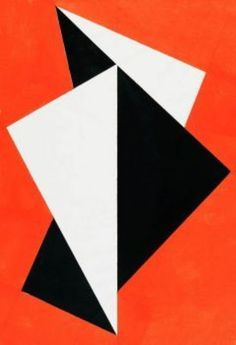 Hermann Glöckner 'Faltung Schwary-Rot' Tempera on Folded Japan Paper. Abstract Art For Kids, Abstract Photos, Abstract Photography, Geometric Quilt, Abstract Geometric Art, Tempera, Hard Edge Painting, Orange Art, Foto Art