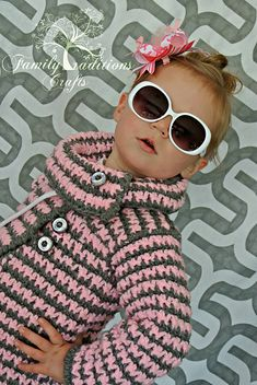 Crochet Pattern: Houndstooth Girls Jacket by A Crocheted Simplicity #crochet #crochetjacket #crochethoundstooth