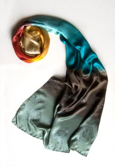 Feathers Silk Shawl Hand Painted Silk Scarf Charcoal by klaradar