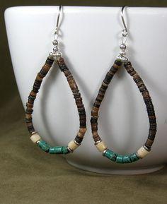Southwest Turquoise Hoop Earrings  by StoneWearDesigns