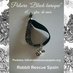 """#nuevo Pulsera """"Black baroque"""" 4€+gtos. de envio. Pedidos: info@rabbitrescuespain.org"""