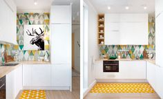 Interior inspiration: Colorful and functional apartment in Moscow in Scandinavian style. Get some interior inspiration from this creative and unique space. Cuisines Design, Kitchen Colors, Apartment Design, Bedroom Apartment, Tile Design, Interior Design Inspiration, Home Renovation, Kitchen Interior, Home Kitchens