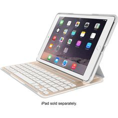 Belkin - Ultimate Pro Keyboard Case for Apple® iPad® Air 2 - Gold/White - Angle Zoom