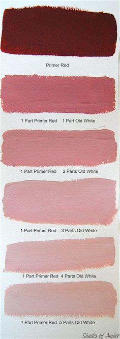 """Dégrader le rouge primaire avec la couleur """"Old White"""" pour réaliser les beaux roses bruns de Venise."""
